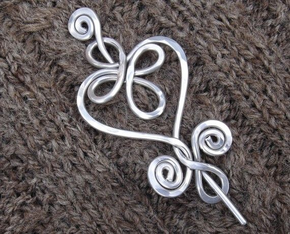 Celtic Heart and Swirls - Shawl Pin / Scarf Pin or Brooch - Light Weight Aluminum Wire
