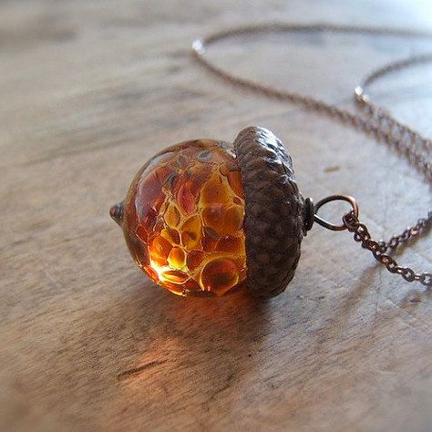 Glass Acorn Necklace Raspberry Peach by by bullseyebeads on Etsy