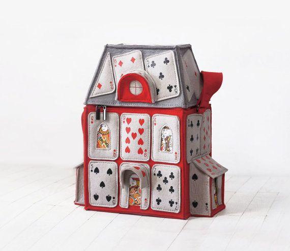 Casa di carte da gioco sentiva borsa Alice nel paese delle meraviglie borsa