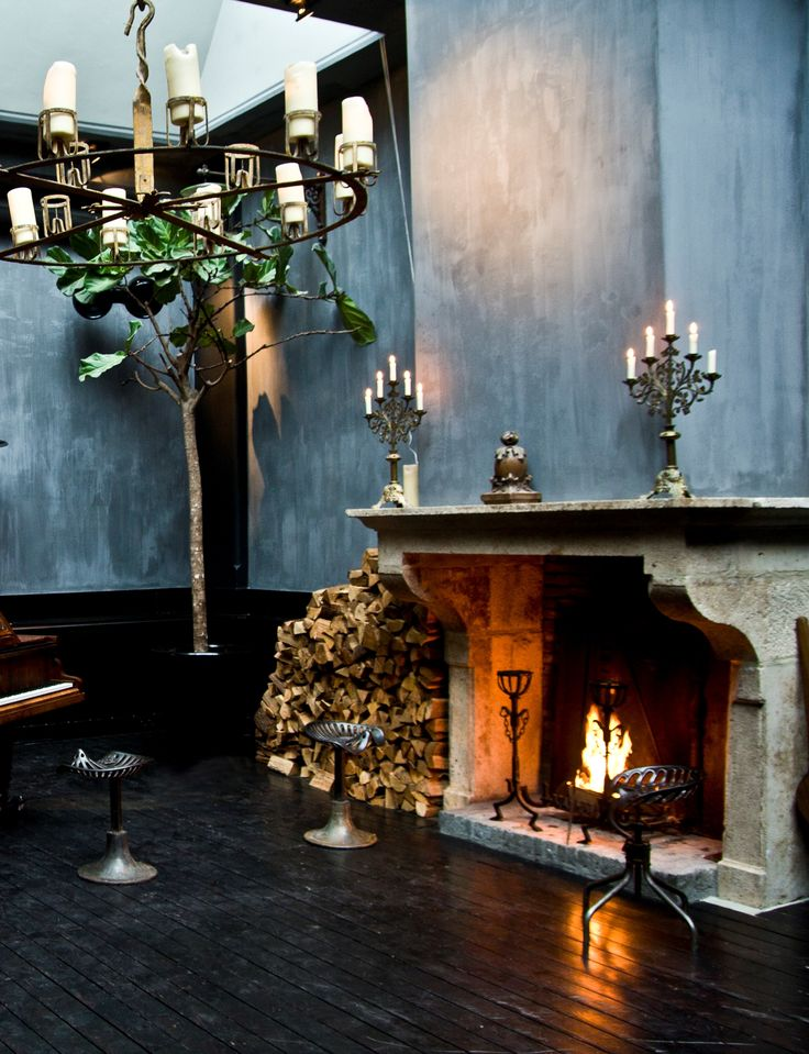 Fire place, chandelier, antique, teal walls, petrol, candles, old wooden floor, vintage, living room, fire, fire dogs