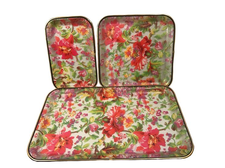 Vintage Plastic Serving Tray Set - Floral Serving Tray Set Gold Trim by VintageVybe on Etsy