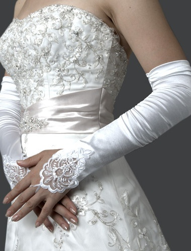 Lycra Fingerless Opera Length Bridal Gloves: