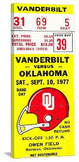 Oklahoma football gifts made from Oklahoma football tickets. The best football gifts are at http://www.shop.47straightposters.com/1977-Vanderbilt-vs-Oklahoma-Football-Ticket-Art-77OKLA-VANDY.htm