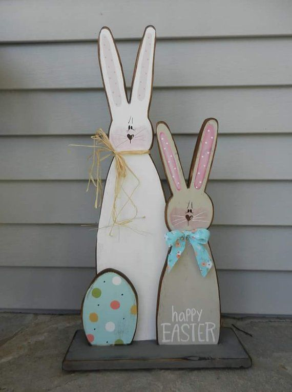 Standing Bunny/Wooden Easter Display/Easter Prim/Country Easter/Bunny Cutout/Made per order
