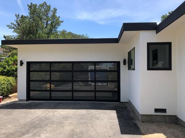 Contemporary Aluminum Frosted Tempered Privacy Glass Garage Door Lux Garage Doors Glass Garage Door Garage Doors Contemporary Garage Doors