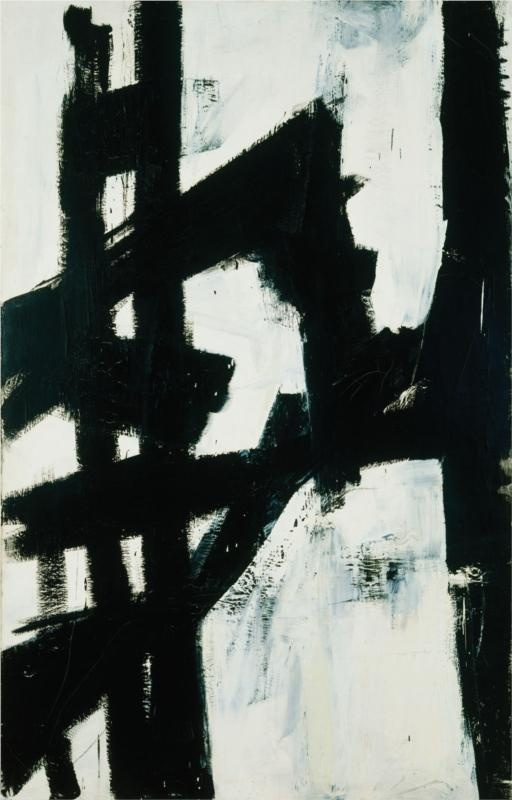 """New York"", 1953. Artist: Franz Kline.  Technique: collage, oil.  Material: canvas.  Dimensions: 200 x 128 cm."