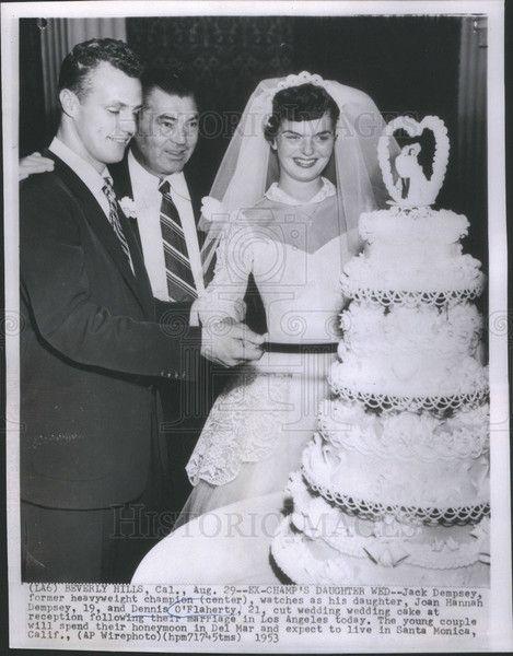 1953 Press Photo Jack Dempsey Daughter Joan Hannah Dempsey And Dennis OFlaherty Wedding