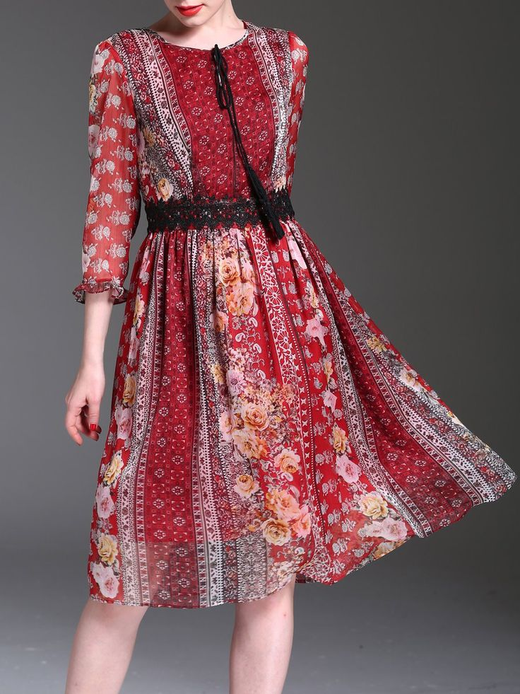 Red Frill Sleeve Floral-print Vintage A-line Midi Dress