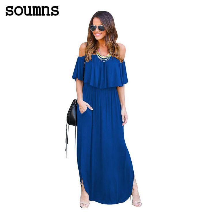 >> Click to Buy << Soumns Maxi jurken womens party dress sexy bodycon lange zomer jurken de schouder strapless elegante partij maxi dress MC5327 #Affiliate