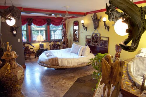 Dragon's Lair suite at Adventure Suites in North Conway, NH - also has themed suites Jungle, Treehouse, Cave, 70s,Victorian Spa.....