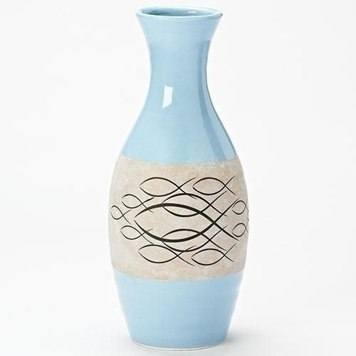 Christian Ichthus Ceramic Blue Vase Beautiful ceramic blue vase for home or office. Great gift for any Christian or Catholic, pastor or priest. Also a lovely we