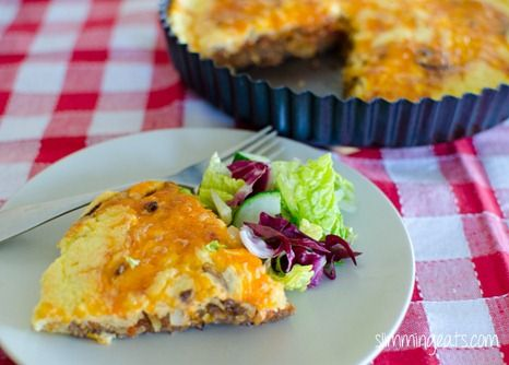 Slimming Eats Cheeseburger Quiche - gluten free, Slimming World (SP) and Weight Watchers friendly