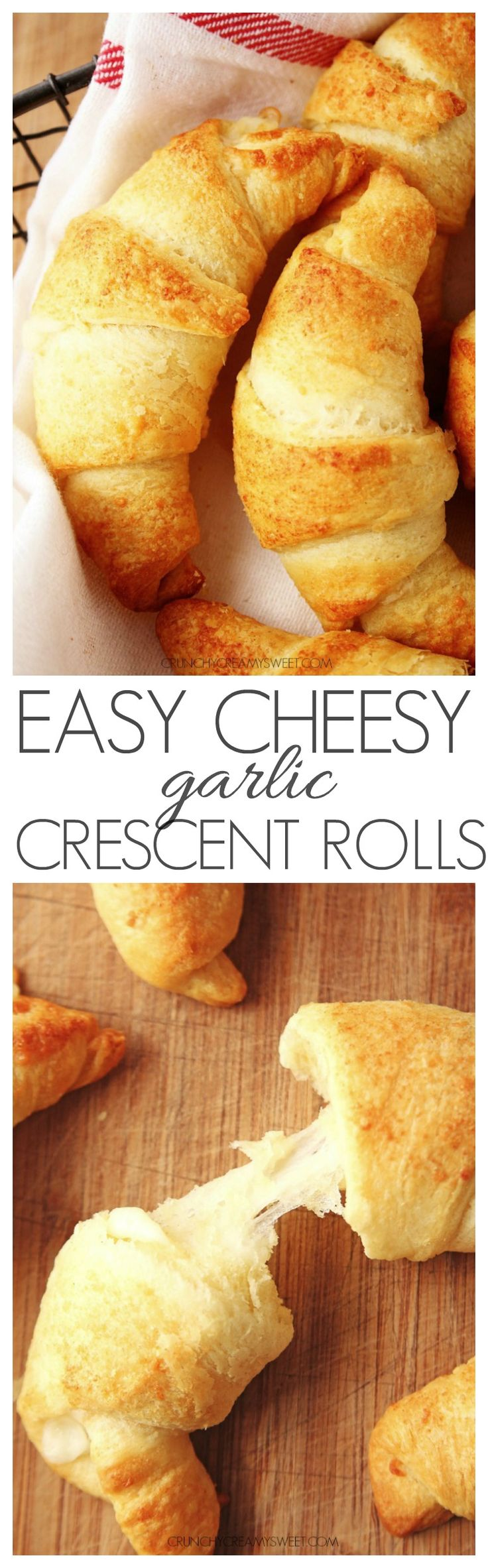 Easy Cheesy Garlic Crescent Rolls - jazz up crescent rolls from a tube with a gooey cheesy filling and a garlic Parmesan butter. So good!