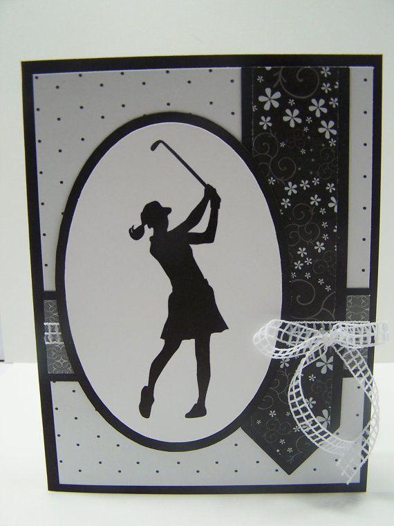 Handmade Greeting Card: Happy Birthday Card, Golf, Golfing, Golfer, Golf Club, Women's Birthday, Woman Golfer - cut with Silhouette Cameo