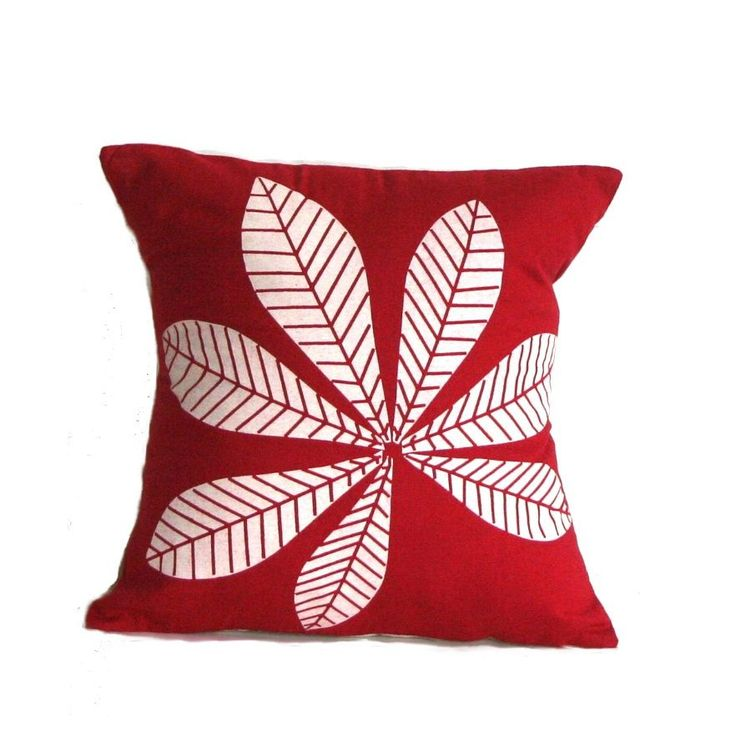 Sustainable Threads Geometric Leaf Large Throw Pillow, Red, Size 16 x 16 (Cotton, Nature)
