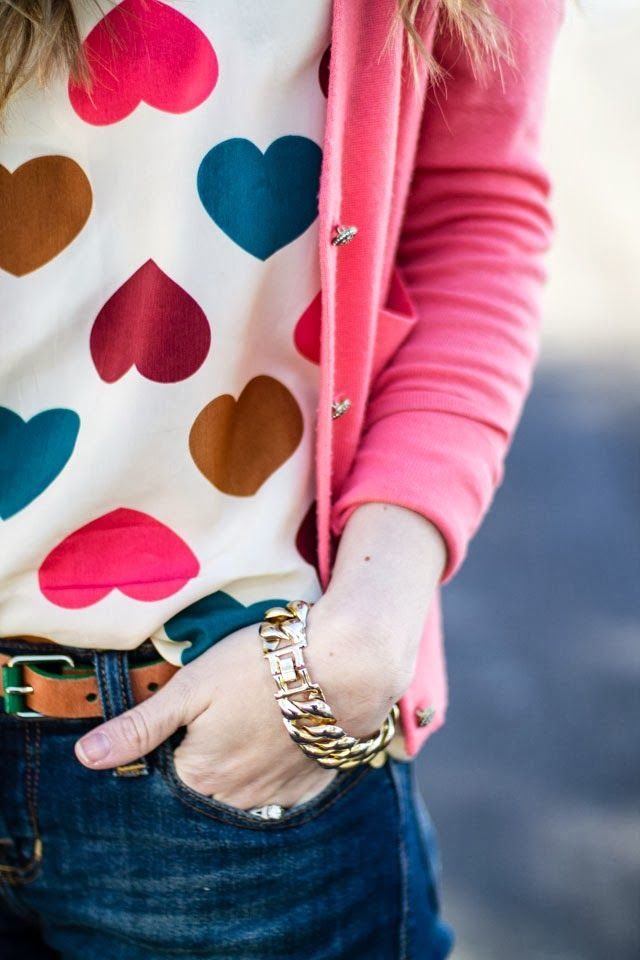 heart print top, pink cardigan