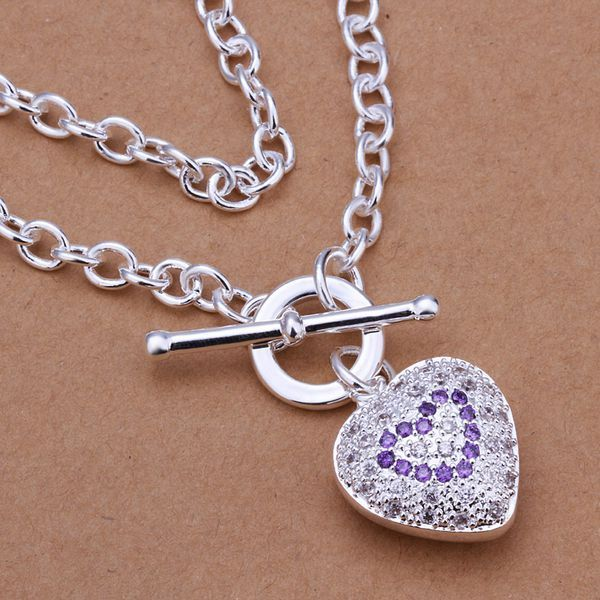 Necklace 925 Silver Necklace 925 Silver 18 Inches Chain Pendant Necklaces Heart Jewelry Free Shipping xmcn LN277