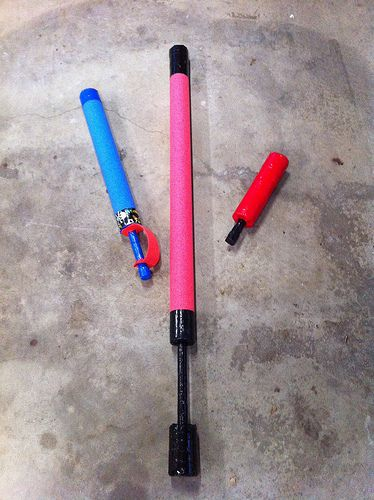 Foam Swords - Pool noodles, 1/2 inch PVC pipe, craft foam and some tape.