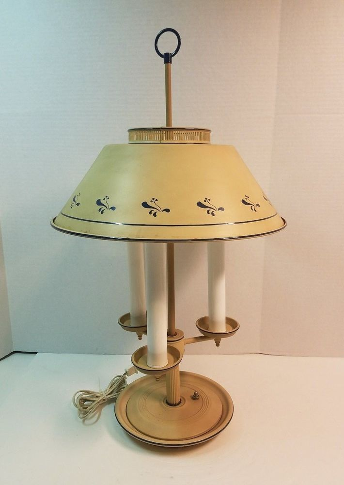 Vintage Bouillotte Metal Toleware 3 Light Table Lamp Candelabra Tan