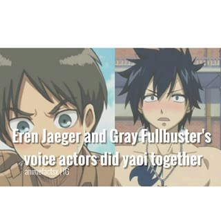 """Oh my i have to watch it . But it's ..weird because you've been listening to them for months and years in normal situations and now you know they did yaoi together Btw it's called """"BL kotoba nante iranai"""" Have fun with it - Character : Eren   Gray Anime : AoT   Fairy Tail"""