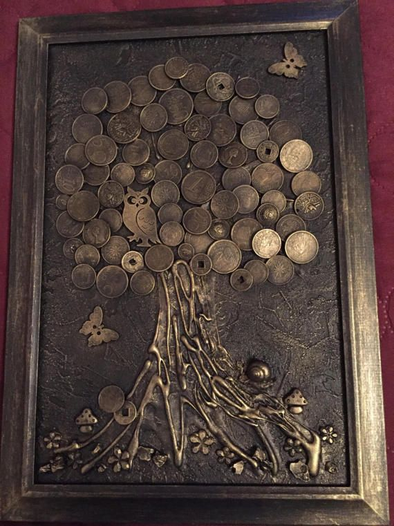 Money tree (good luck) - the most effective talisman of wealth in Chinese teaching Feng Shui. Decorate by this talisman the house and draw prosperity into your life! We used wooden base,tree trunk made of natural wood bark and to crown used these coins of different denominations. There are