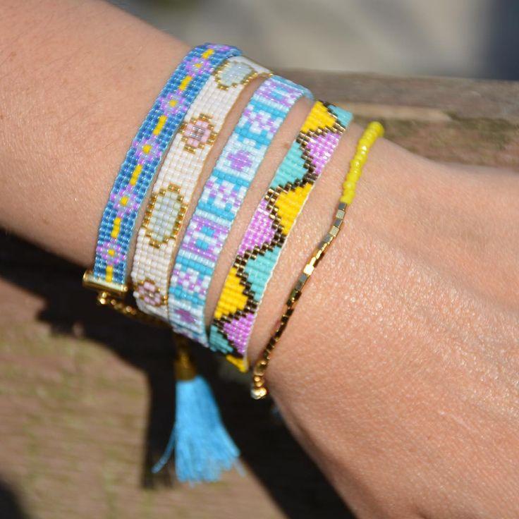 Miyuki armbanden kun je perfect combineren met andere armbanden. Looks beautiful!