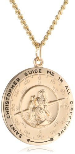 This gold-filled rounded pendant contains the classic Saint Christopher medal design, a symbol of protection.
