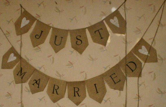 JUST MARRIED Burlap Banner with white Heart by Bannerbanquet, $38.00