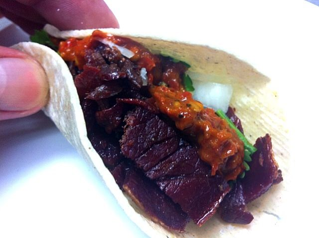 Just tasting, no available yet in our menu ;) - 5件のもぐもぐ - taco de cecina de res (dryed berf meat taco) by Jorge Bernal Márquez
