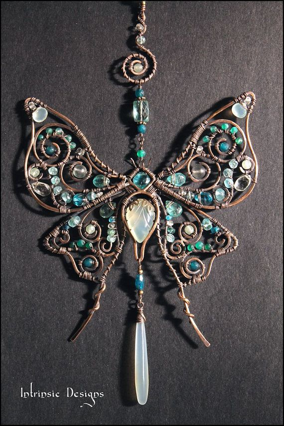 Wire Wrapped Multi Gemstone Silk Moth Suncatcher in by CathyHeery