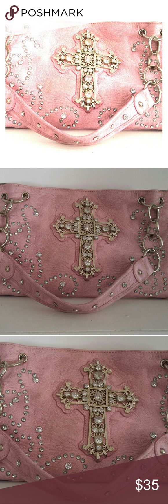 💋Pink rhinestone and gem purse💋 Pink purse with rhinestones and gems all sit nicely on and around cross. Lots of pockets! About 10 !!! Great keep everything organized!! Purse is a little weathered. All gems seem to be still in tact and pockets are in good shape! Country Rhode Bags