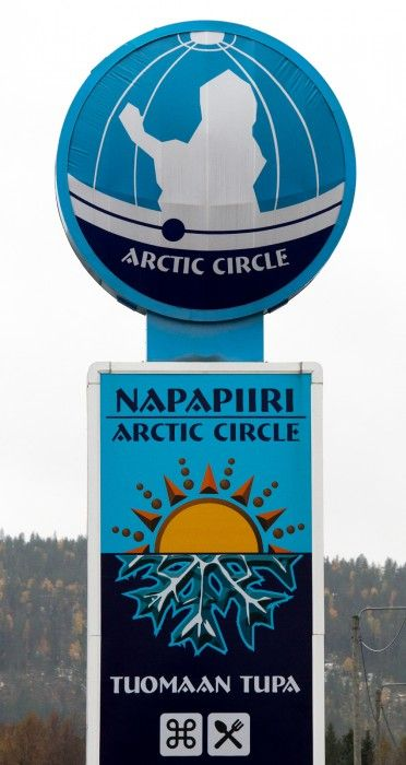 The Arctic Circle sign in the village of Juoksenki in the Pello Municipality, Lapland, Finland