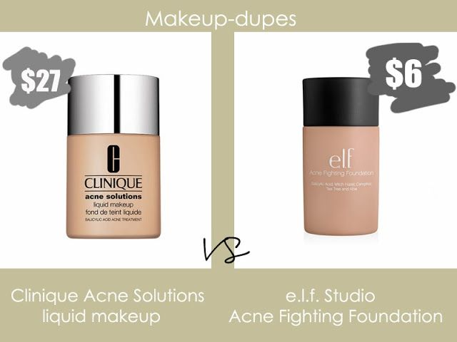 Makeup dupes. i use the clinique but it is so expensive! this helps a lot!