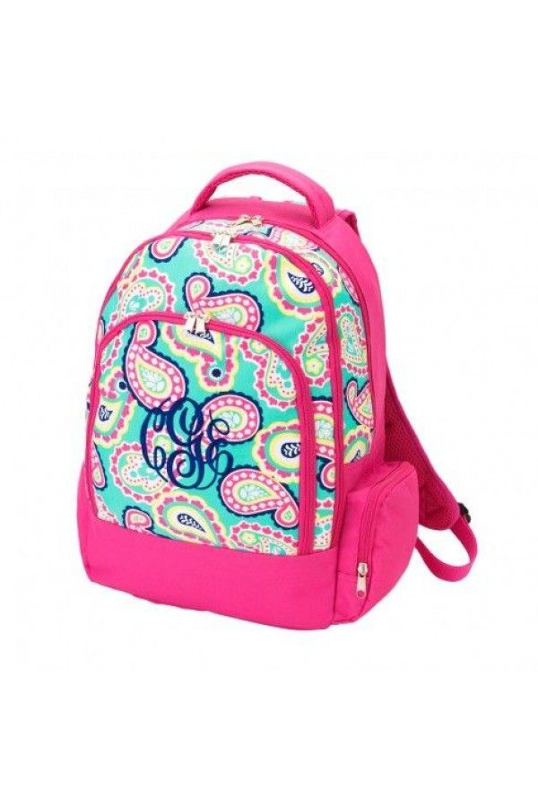 monogrammed book bags for college