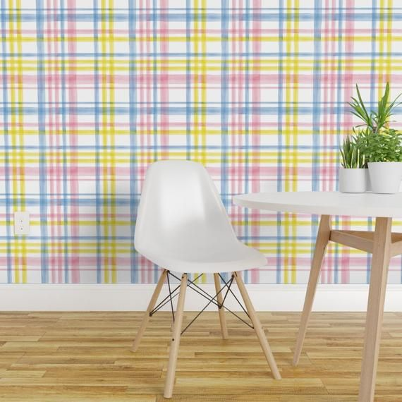 Plaid Wallpaper Easter Watercolor Purple Pink Yellow By Littlearrowdesign Pastel Watercolor Plaid Spring Wallpaper Roll By Spoonflower In 2020 Plaid Wallpaper Custom Wall Stickers Textured Walls