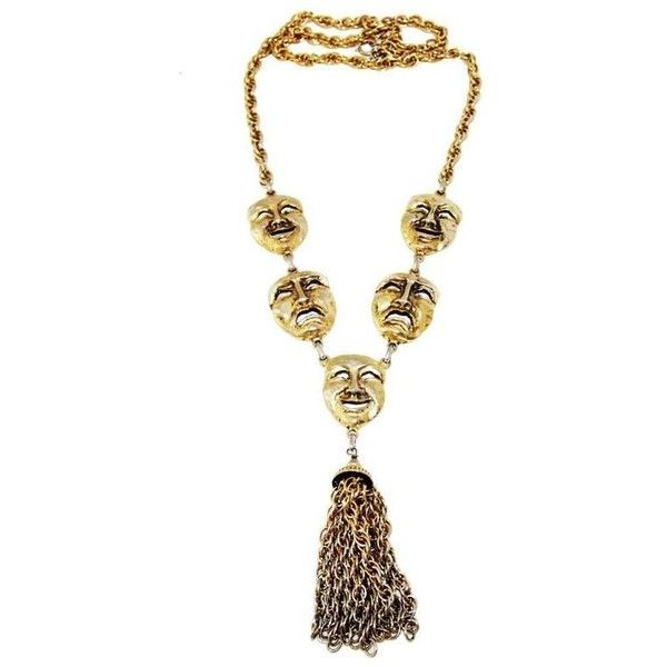 Preowned Moschino Mask Vintage 80s Necklace ($790) ❤ liked on Polyvore featuring jewelry, necklaces, beige, pendant necklaces, vintage jewelry, moschino necklace, vintage necklace, 80's fashion jewelry and metal jewelry