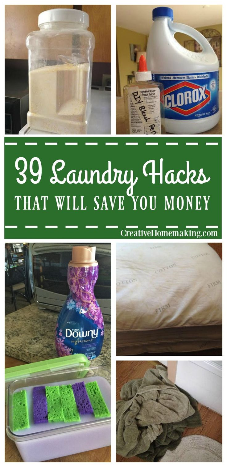 39 laundry cleaning hacks that will save you money! Homemade laundry detergent, homemade wrinkle spray, miracle spot remover, DIY dryer sheets, how to remove cooking oil stains from clothing, and more!