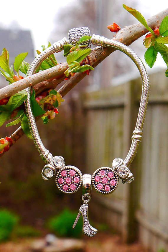Pandora Style Charm Bracelet 925 Sterling Silver with Pink and