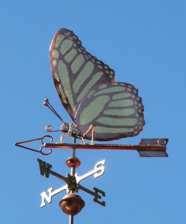Monarch Butterfly Weathervane by West Coast Weather Vanes.  The Monarch Butterfly weathervane featured here was made in copper with gold leafed accents on its wings and body. Because we make each weathervane to order, we can change the wing shape and/or markings to represent a different kind of butterfly. We can also use palladium in addition to, or in place of, the gold leaf to create a tri-color effect.