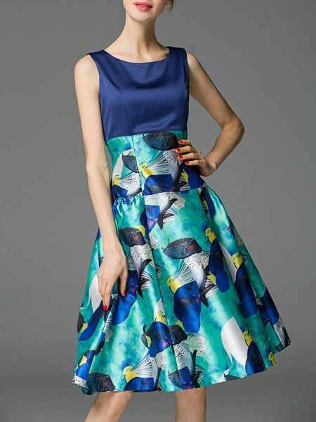 Blue Printed Polyester Casual Midi Dress