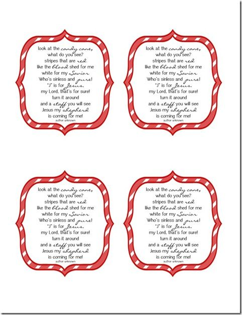 Candy Cane Poem Gift Tags Things To Do With The Boys