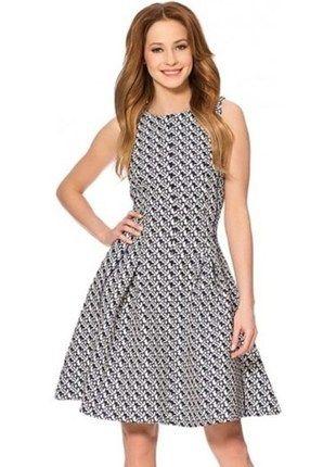 Kup mój przedmiot na #vintedpl http://www.vinted.pl/damska-odziez/sukienki-wieczorowe/13989562-rozkloszowana-sukienka-orsay-zip-granatowo-biala