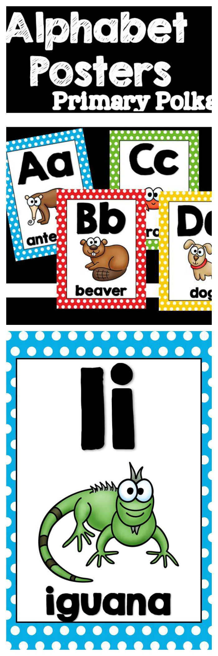 Cute Primary With Polka Dot Alphabet Posters On A White