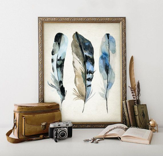 #LGLimitlessDesign & #Contest I'm not going to use ALL of the feather paintings/prints that I've posted on this board in my LG Black Stainless Blue Jay Kitchen. I'll choose one, probably, and either tuck in on a shelf, framed in black, or hang it in the pantry. Blue Jay Watercolor Feathers Wall Art Print  by QuantumPrints