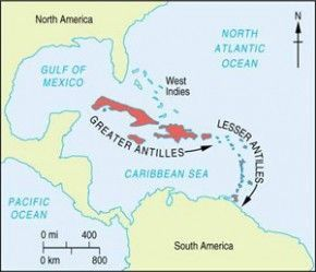 2. Northward then westward through the Windward and Leeward Isles of the Lesser Antilles (Windward = Martinique, St Lucia, St Vincent and the Grenadines, Grenada, Trinidad and Tobago. Leeward = Virgin Islands, Dominica, Guadeloupe,Montserrat, Antigua, Barbuda, St Kitts, Nevis, Anguilla.) to the terminus of the Lesser Antilles in the scattered Pleiades of the Virgin Islands.