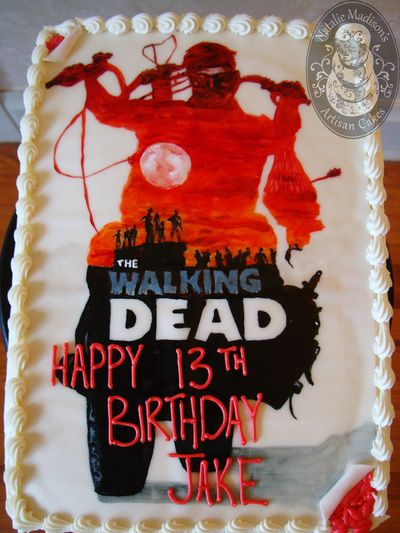 "Portfolio of Cakes - Natalie Madison's Artisan Cakes A hand painted ""movie poster"" cake featuring ""The Walking Dead"" for Jake's birthday. 1/4 sheet - serving 24: $68 plus tax"