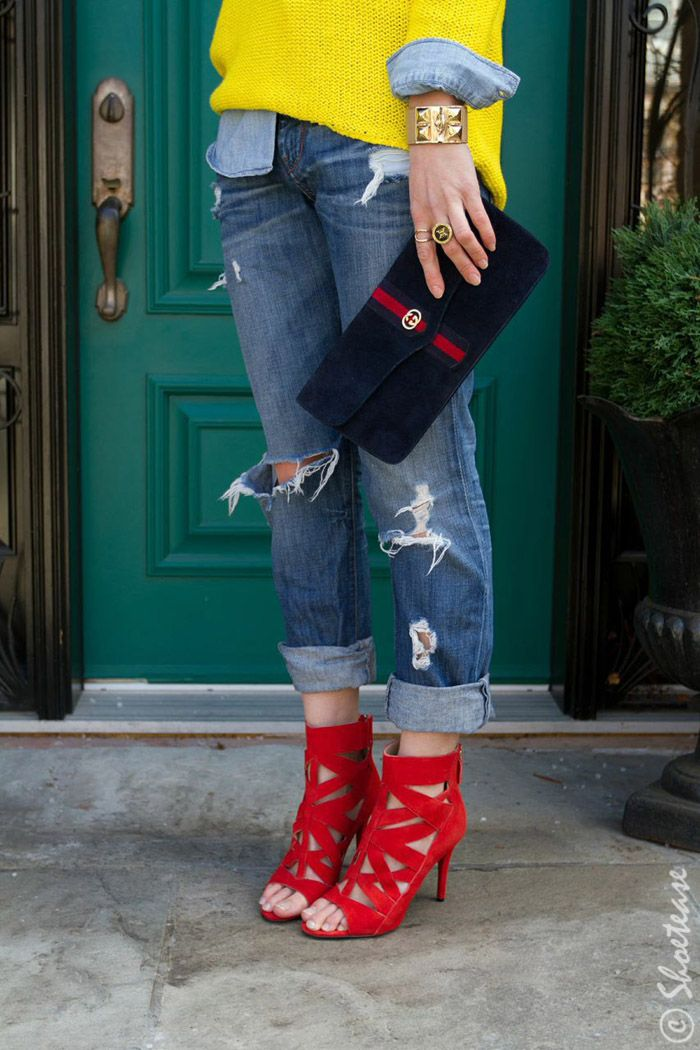 Red cut-out high heels bootie | Colorful Shoes | Red shoes with destroyed boyfriend jeans