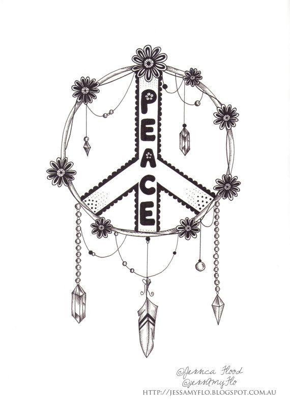 Dreamcatcher Illustration Peace Sign Illustration by JessAmyFlo, $25.00