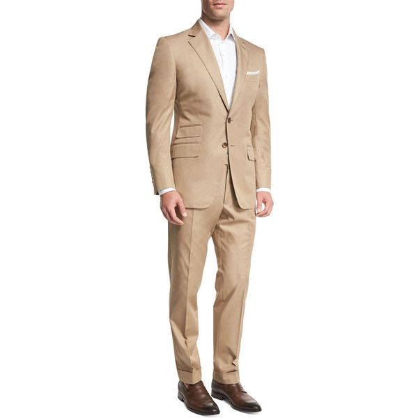 Tom Ford O'Connor Base Solid Cotton Two-Piece Suit ($4,590) ❤ liked on Polyvore featuring men's fashion, men's clothing, men's suits, brown, men's apparel suits, mens 3 button suits, men's 2 piece suits, mens brown suit, mens cotton suit and organic cotton men's clothing