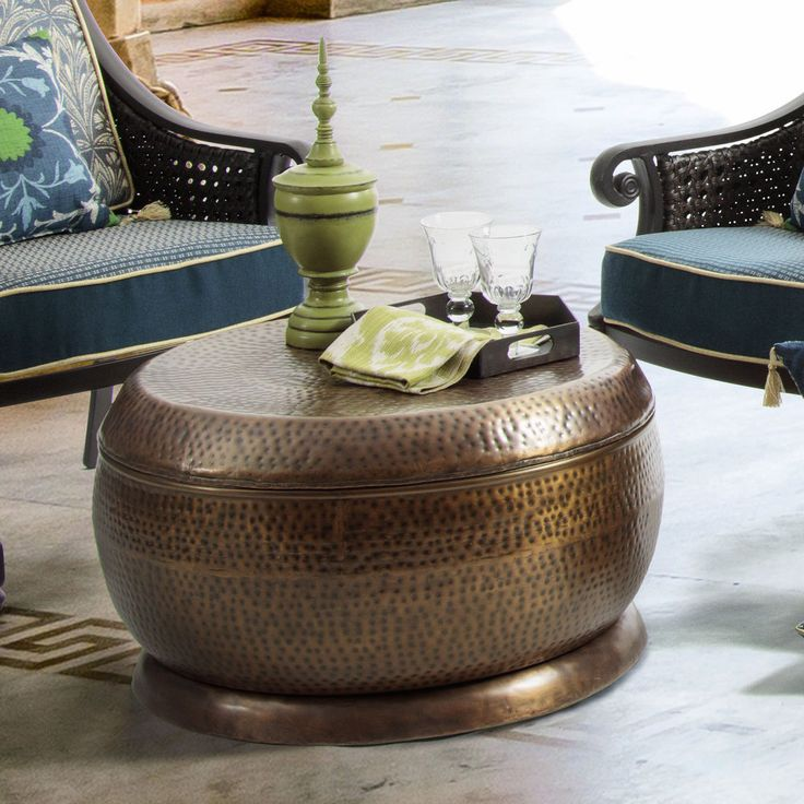 The Madras coffee table is made of powder-coated steel with an antique copper finish to complement your eclectic home decor. The drum coffee table is suitable for outdoor use and is rust-resistant. Coffee table. | eBay!